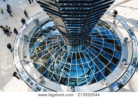 People Inside Of Reichstag Dome In Berlin