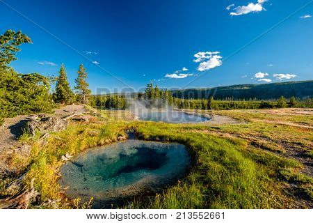 Hot thermal spring in Yellowstone National Park, Wyoming, USA