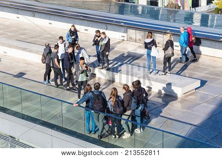 Young Visitors In Reichstag Building In Berlin