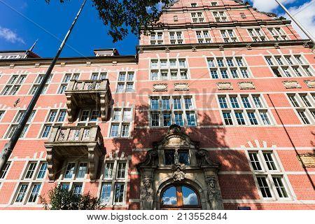 Old Navigation School In Hamburg Port