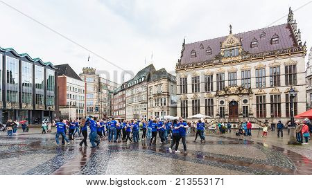 Dancing Party On Bremen Market Square In Rain
