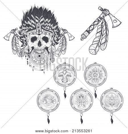 Set of illustrations of a templates for a tattoo with a human skull in an indian feather hat, tomahawk and various dream catchers. Design element, print for T-shirts