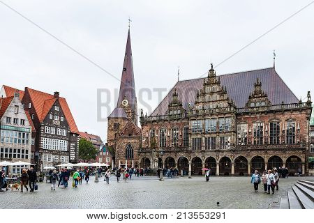 Tourists Near Town Hall On Bremen Market Square