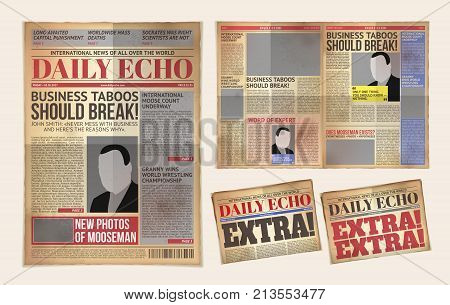 illustration of an old daily newspaper template, retro tabloid, layout posting reportage