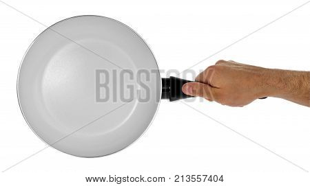 Kitchen Frying Pan With Healthy, Non-stick, Ceramic, Holding It In Hand.