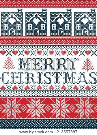 Seamless Merry Christmas Scandinavian fabric style, inspired by Norwegian Christmas, festive winter pattern in cross stitch with reindeer, Christmas tree, heart, decorative ornaments in blue, red