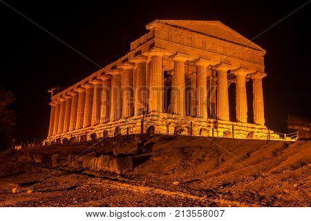 Concordia Temple in Agrigento archaeological park. Valle dei Templi, Sicily