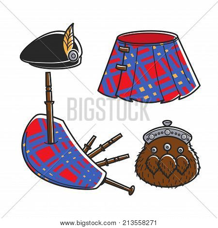 Scot Bagpipe musician traditional accessories isolated vector illustrations set on white background. Black beret with small feather, bright tartan, musical instrument and furry purse with metal lock.