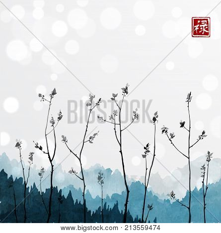 Young tree branches and blue mountains in fog on white glowing background. Traditional oriental ink painting sumi-e, u-sin, go-hua. Hieroglyph - well-being.