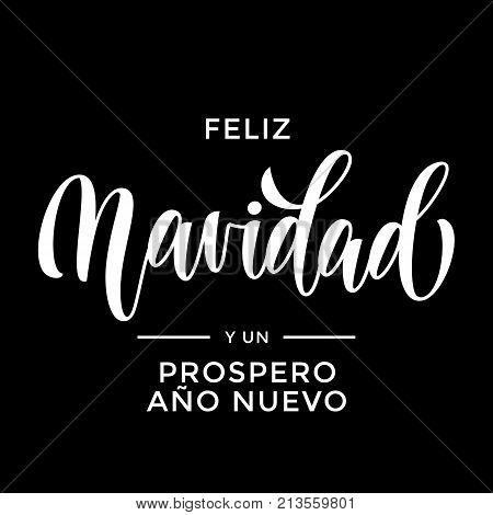 Christmas Feliz Navidad Spanish Ano Nuevo New Year Hand Drawn Calligraphy Lettering Vector Greeting