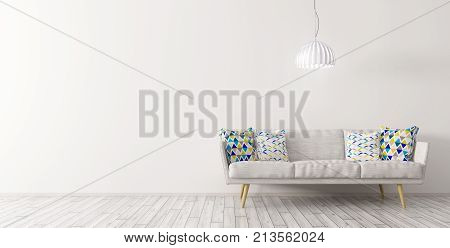 Interior Of Living Room With Sofa And Lamp 3D Rendering