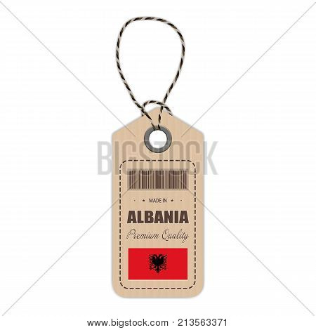 Hang Tag Made In Albania With Flag Icon Isolated On A White Background. Vector Illustration. Made In Badge. Business Concept. Buy products made in Albania. Use For Brochures, Printed Materials, Logos, Independence Day