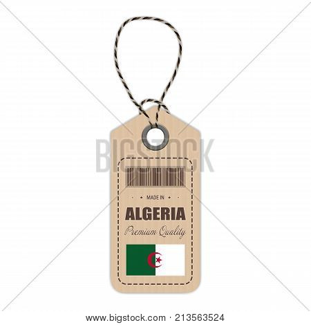 Hang Tag Made In Algeria With Flag Icon Isolated On A White Background. Vector Illustration. Made In Badge. Business Concept. Buy products made in Algeria. Use For Brochures, Printed Materials, Logos, Independence Day