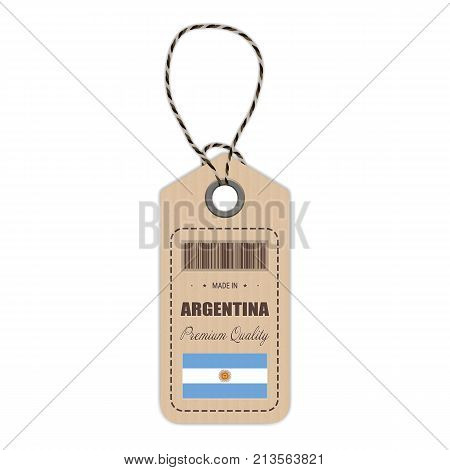 Hang Tag Made In Argentina With Flag Icon Isolated On A White Background. Vector Illustration. Made In Badge. Business Concept. Buy products made in Argentina. Use For Brochures, Printed Materials, Logos, Independence Day