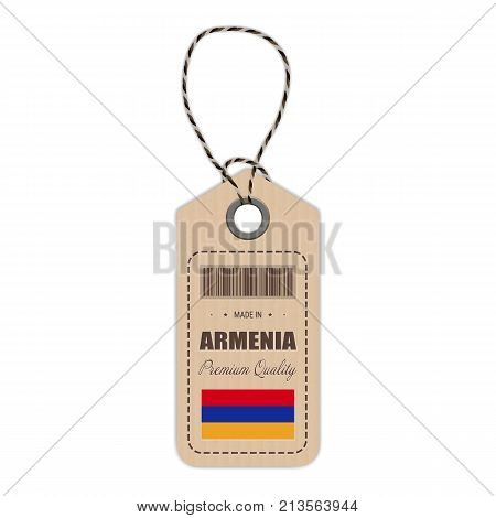 Hang Tag Made In Armenia With Flag Icon Isolated On A White Background. Vector Illustration. Made In Badge. Business Concept. Buy products made in Armenia. Use For Brochures, Printed Materials, Logos, Independence Day