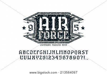Stencil-plate serif font and air force emblem. Letters and numbers with rough texture for logo and t-shirt design. Print on white background