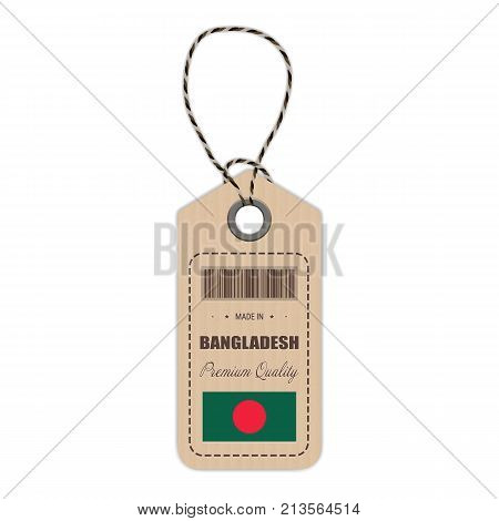 Hang Tag Made In Bangladesh With Flag Icon Isolated On A White Background. Vector Illustration. Made In Badge. Business Concept. Buy products made in Bangladesh. Use For Brochures, Printed Materials, Logos, Independence Day