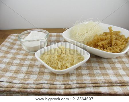 Rice flour, raw rice and rice noodles