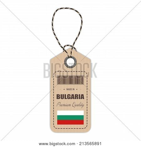 Hang Tag Made In Bulgaria With Flag Icon Isolated On A White Background. Vector Illustration. Made In Badge. Business Concept. Buy products made in Bulgaria. Use For Brochures, Printed Materials, Logos, Independence Day
