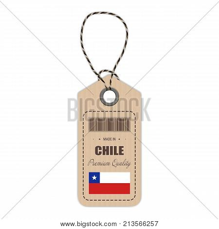 Hang Tag Made In Chile With Flag Icon Vector Illustration. Made In Badge. Business Concept. Buy products made in Chile. Use For Brochures, Printed Materials, Logos, Independence Day