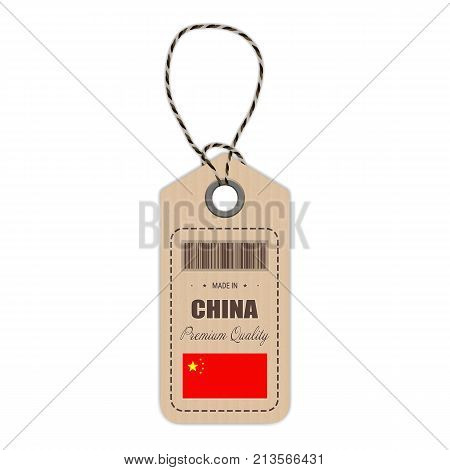 Hang Tag Made In China With Flag Icon Isolated On A White Background. Vector Illustration. Made In Badge. Business Concept. Buy products made in China. Use For Brochures, Printed Materials, Logos, Independence Day