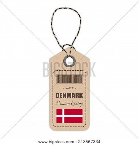 Hang Tag Made In Denmark With Flag Icon Isolated On A White Background. Vector Illustration. Made In Badge. Business Concept. Buy products made in Denmark. Use For Brochures, Printed Materials, Logos, Independence Day