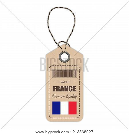 Hang Tag Made In France With Flag Icon Isolated On A White Background. Vector Illustration. Made In Badge. Business Concept. Buy products made in France. Use For Brochures, Printed Materials, Logos, Independence Day