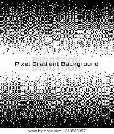 Pixel Abstract technology gradient center background. Business black white mosaic backdrop with failing pixels. Pixelated pattern texture. Big data flow vector Illustration.
