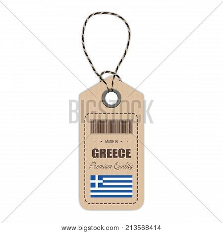 Hang Tag Made In Greece With Flag Icon Isolated On A White Background. Vector Illustration. Made In Badge. Business Concept. Buy products made in Greece. Use For Brochures, Printed Materials, Logos, Independence Day