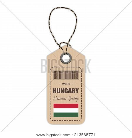 Hang Tag Made In Hungary With Flag Icon Isolated On A White Background. Vector Illustration. Made In Badge. Business Concept. Buy products made in Hungary. Use For Brochures, Printed Materials, Logos, Independence Day
