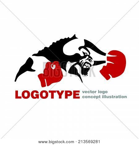 Bull Boxing gloves vector logo template creative illustration. Bull figure sign. fighter icon. Fitness sport symbol. Black and white insignia. Martial arts, fight club concept. Vector illustration.