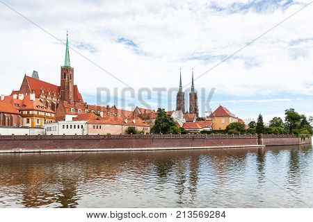 Cathedrals In Ostrow Tumski District In Wroclaw