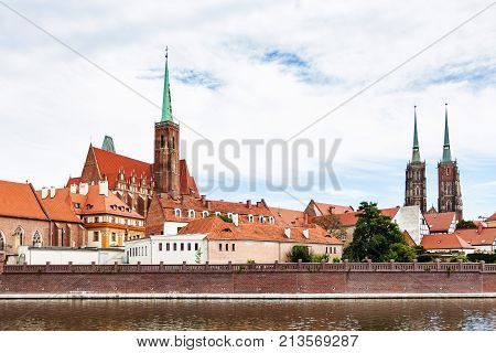 Churches Of Ostrow Tumski District In Wroclaw City