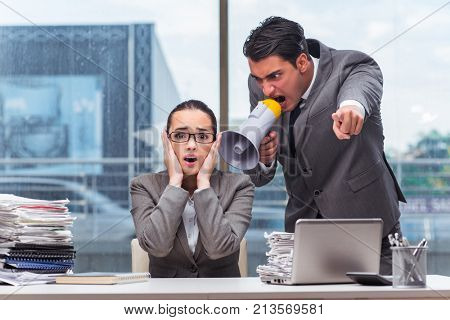 Boss yelling at his team member