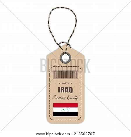 Hang Tag Made In Iraq With Flag Icon Isolated On A White Background. Vector Illustration. Made In Badge. Business Concept. Buy products made in Iraq. Use For Brochures, Printed Materials, Logos, Independence Day