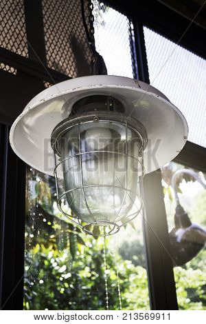 Decorating hanging vintage bulb lamp stock photo