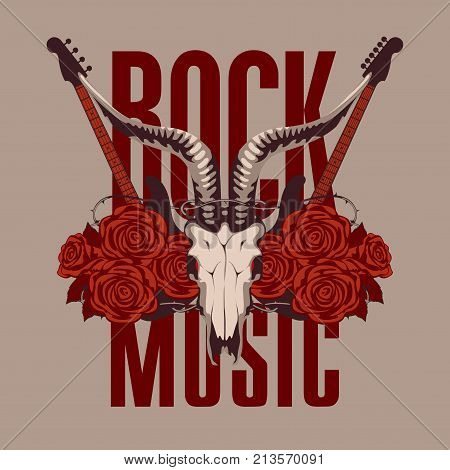 Vector banner or emblem with words Rock music electric guitars a skull of a goat and red roses with barbed wire