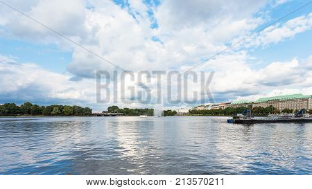 Inner Alster Lake With Fountain In Hamburg City