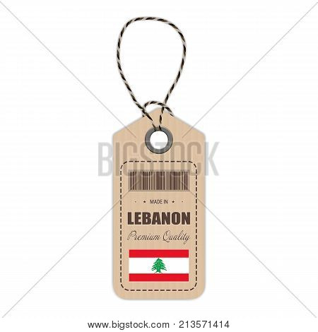 Hang Tag Made In Lebanon With Flag Icon Isolated On A White Background. Vector Illustration. Made In Badge. Business Concept. Buy products made in Lebanon. Use For Brochures, Printed Materials, Logos, Independence Day