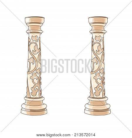Stylized Greek doodle column Doric Ionic Corinthian columns. Vector illustration. Classical architecture.