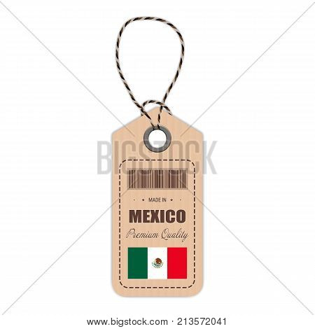 Hang Tag Made In Mexico With Flag Icon Isolated On A White Background. Vector Illustration. Made In Badge. Business Concept. Buy products made in Mexico. Use For Brochures, Printed Materials, Logos, Independence Day