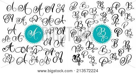 Set of Hand drawn vector calligraphy letter A and B. Script font. Isolated letters written with ink. Handwritten brush style. Hand lettering for logos packaging design poster.