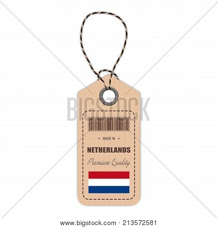 Hang Tag Made In Netherlands With Flag Icon Isolated On A White Background. Vector Illustration. Made In Badge. Business Concept. Buy products made in Netherlands. Use For Brochures, Printed Materials, Logos, Independence Day