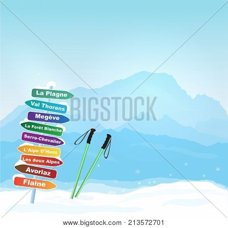 Vector Wintersports in French Alps illustration with Mont Blanc silhouette