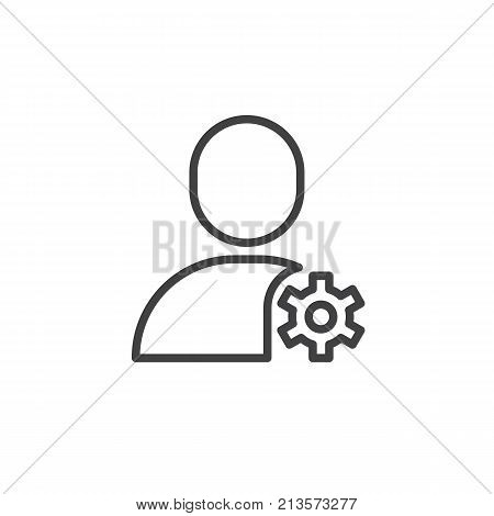 Account settings line icon, outline vector sign, linear style pictogram isolated on white. User with gear wheel symbol, logo illustration. Editable stroke