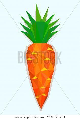 Big Orange Carrot wit Tops in Polygonal Style