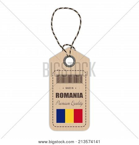 Hang Tag Made In Romania With Flag Icon Isolated On A White Background. Vector Illustration. Made In Badge. Business Concept. Buy products made in Romania. Use For Brochures, Printed Materials, Logos, Independence Day