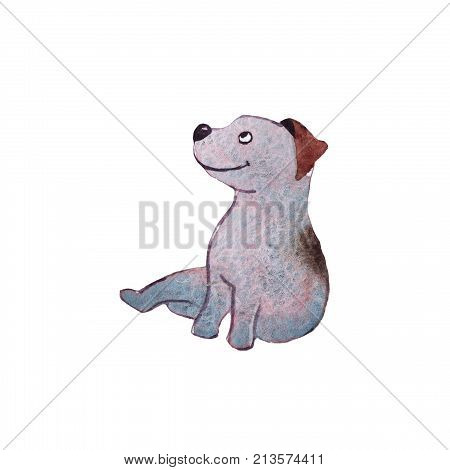 Jack Russell terrier dog puppy hand drawing watercolor illustration
