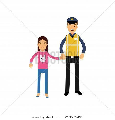 Young police officer and little kid holding hands. Cartoon characters of road policeman in cap and reflective waistcoat workwear and school girl in pink sweater. Public service. Vector flat design.