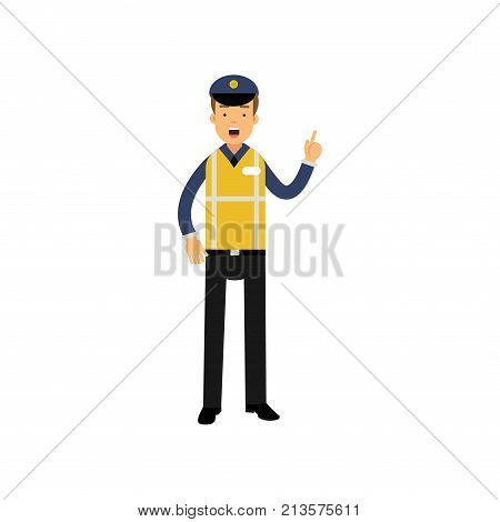 Cartoon road policeman standing and showing thumb up gesture isolated on white. Wearing in uniform with reflective high visibility safety vest. Police department s worker. Flat vector illustration.